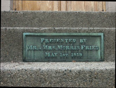 plaque on the adams street synagogue porch dedicated by Morris Fried